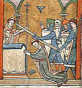 Gothic Dreams: Manuscript depiction of the murder of Thomas Becket